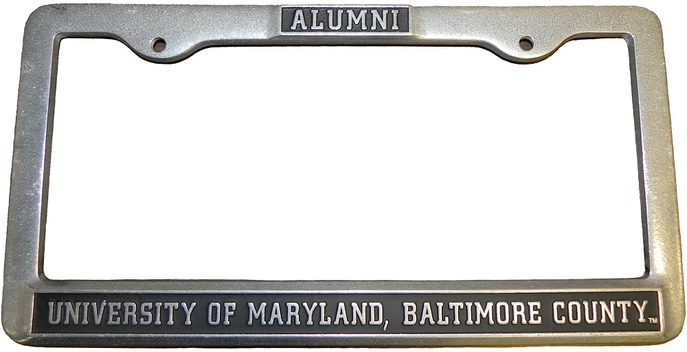 LICENSE PLATE HOLDER PEWTER ALUMNI
