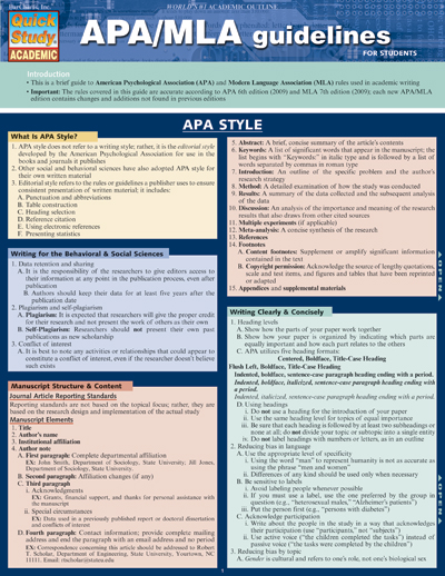 Image For APA/MLA GUIDELINES