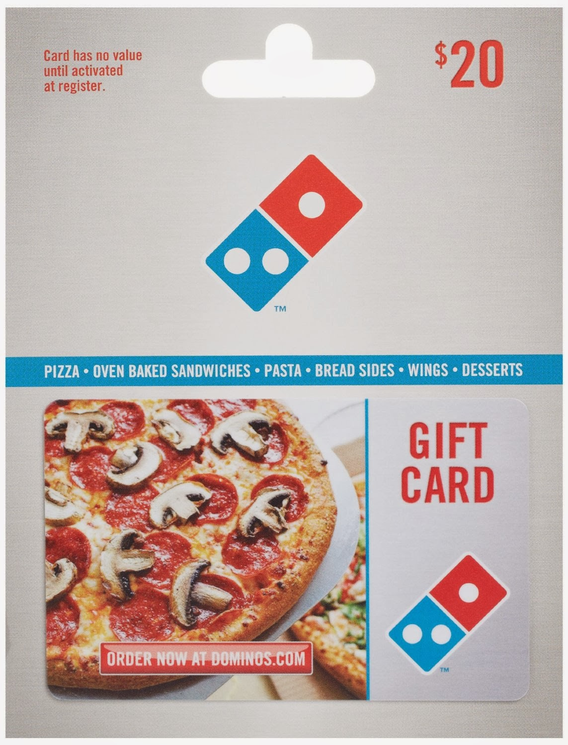 Cover Image For DOMINO'S PIZZA $20 GIFT CARD